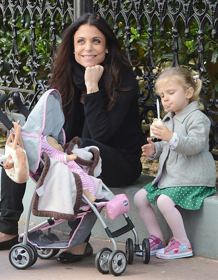 Bethenny Frankel may have made her millions on her reduced-calorie line of SkinnyGirl cocktails, but she doesn't mind if her daughter indulges! Bryn, 3, enjoyed an ice cream during an outing with mom in New York City on Wednesday. And, who knows, maybe Bethenny even sneaked a bite. (5/15/2013)