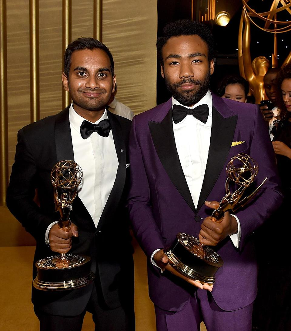 <p>Winners! Aziz Ansari, who was awarded an Emmy for Outstanding Writing for a Comedy Series for <em>Master of None</em>, compared hardware with Donald Glover, who won Outstanding Lead Actor in a Comedy Series for <em>Atlanta</em>, at the Governors Ball. (Photo: Kevin Winter/Getty Images) </p>