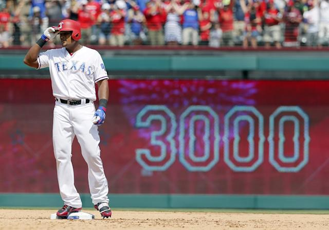 Adrian Beltre acknowledges cheers after hitting a double for his 3,000th career hit. (Getty Images)