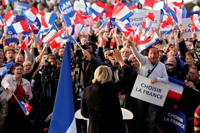 "<p>Marine Le Pen, French National Front (FN) candidate for the 2017 presidential election, attends a ""people's party"" with supporters in Ennemain, northern France, May 4, 2017. (Photo: Pascal Rossignol/Reuters) </p>"