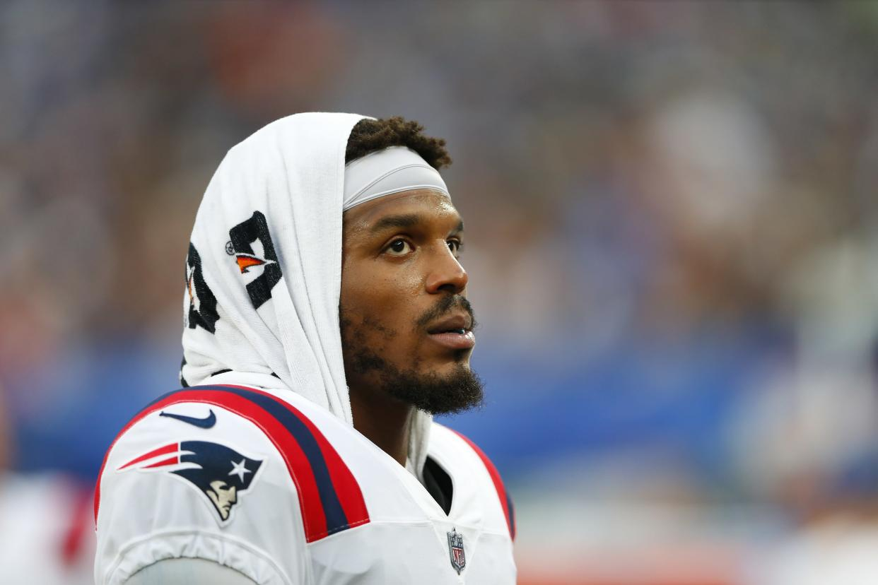 New England Patriots quarterback Cam Newton (1) during the first half of an NFL preseason football game against the New York Giants Sunday, Aug. 29, 2021, in East Rutherford, N.J. (AP Photo/Noah K. Murray)