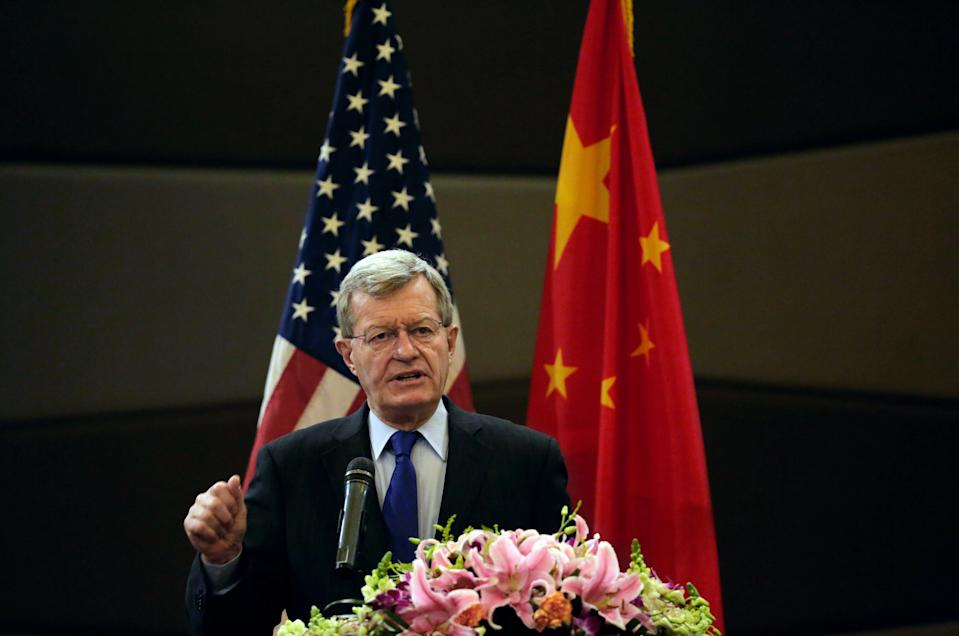 """U.S. Ambassador to China Max Baucus delivers his opening remarks on U.S. Ambassador's Intellectual Property Rights (IPR) """"Copyright in a Global Digital Community"""" roundtable at a hotel in Beijing Thursday, April 23, 2015. The roundtable event brings together U.S. and Chinese government, industry, and IPR thought leaders to exchange ideas on promoting innovation and creativity through strong IPR protection and enforcement. (AP Photo/Andy Wong)"""