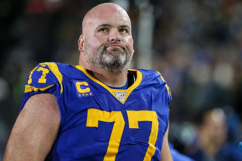 LOS ANGELES, CA - DECEMBER 08:Los Angeles Rams offensive tackle Andrew Whitworth (77) during the NFL game between the Seattle Seahawks and the Los Angeles Rams on December 08, 2019, at the Los Angeles Memorial Coliseum in Los Angeles, CA. (Photo by Jevone Moore/Icon Sportswire via Getty Images)