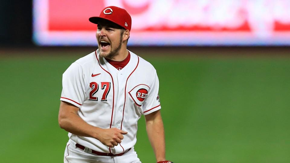 Mandatory Credit: Photo by Aaron Doster/AP/Shutterstock (10787373g)Cincinnati Reds' Trevor Bauer reacts after recording a strikeout against Milwaukee Brewers' Christian Yelich during a baseball game in Cincinnati, .
