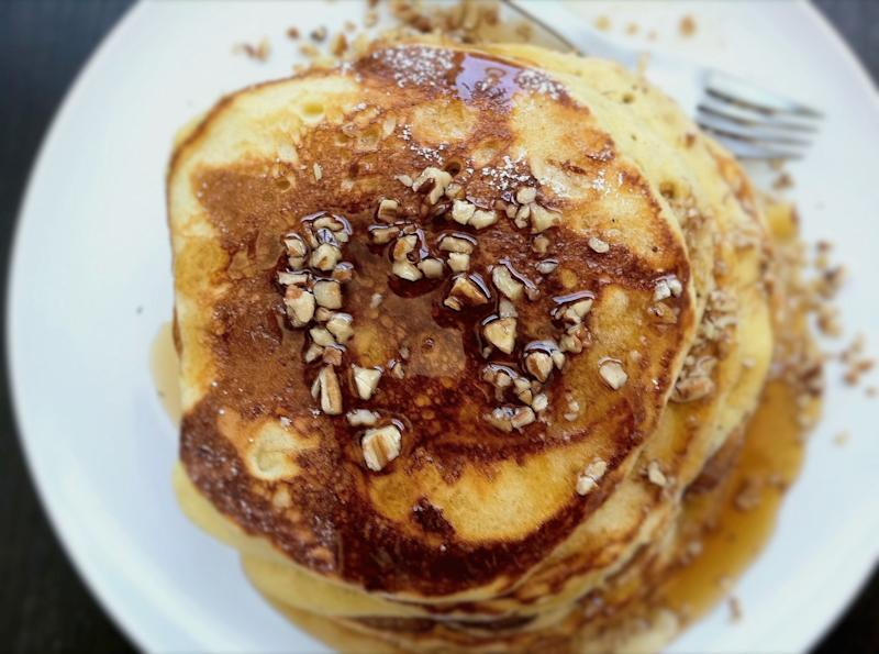 """<strong>Get the <a href=""""http://food52.com/recipes/16691-bourbon-maple-syrup-on-egg-nog-pancakes"""" target=""""_blank"""">Bourbon-Maple Syrup on Egg Nog Pancakes recipe</a> from Jerry James Stone via Food52</strong>"""