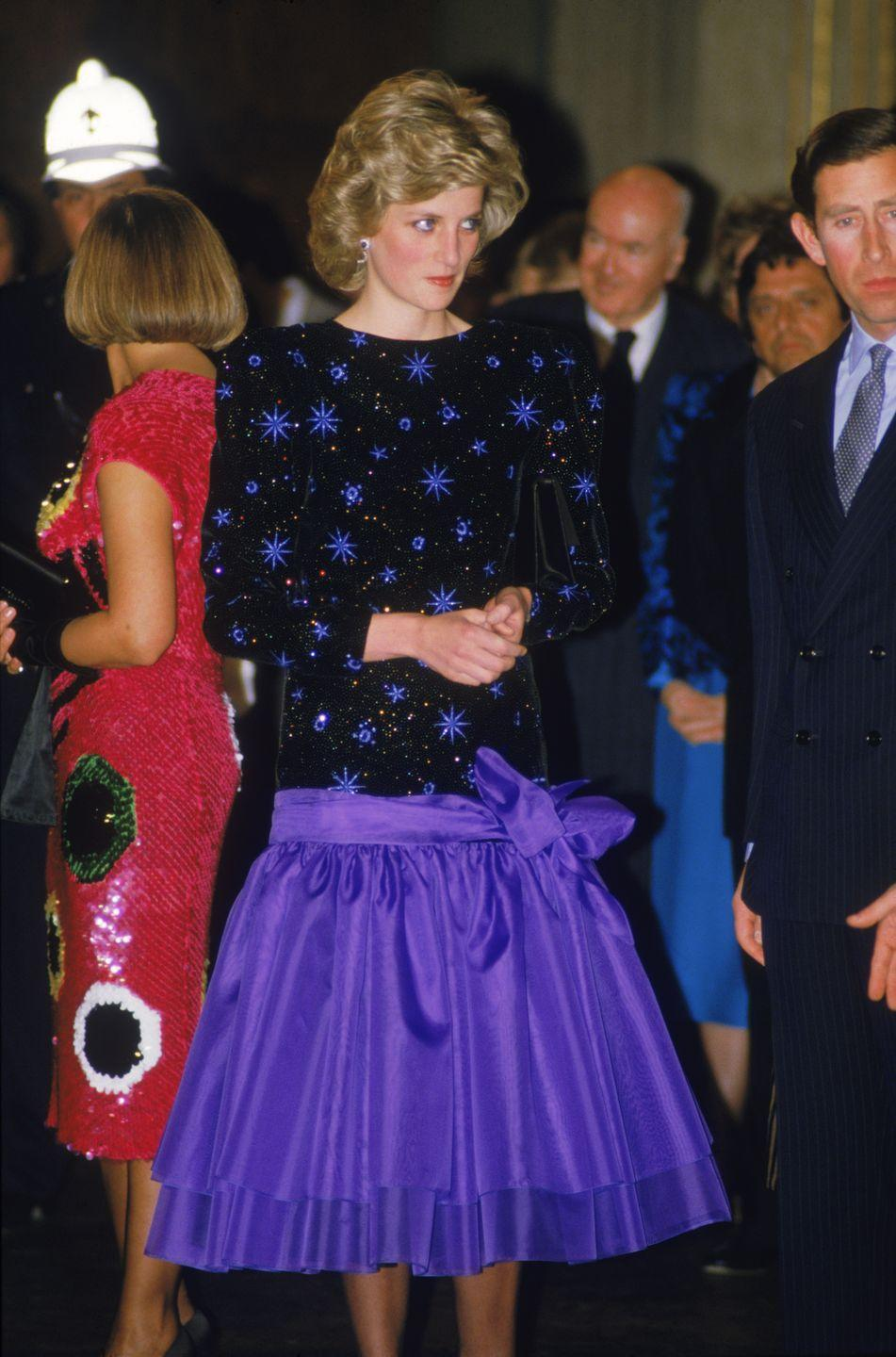 <p>At a dinner in Italy, 1985. Wearing Jacques Azagury.</p>