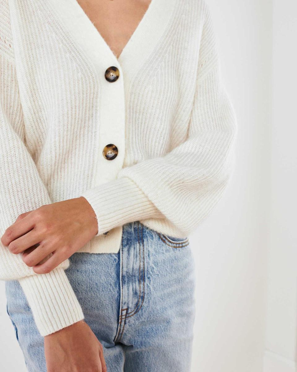 """<br><br><strong>Quince</strong> Baby Alpaca-Wool Cropped Cardigan, $, available at <a href=""""https://go.skimresources.com/?id=30283X879131&url=https%3A%2F%2Fwww.onequince.com%2Fwomen%2Falpaca-cardigan"""" rel=""""nofollow noopener"""" target=""""_blank"""" data-ylk=""""slk:Quince"""" class=""""link rapid-noclick-resp"""">Quince</a>"""