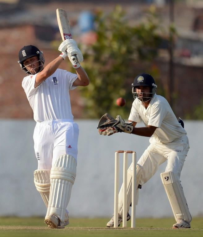 England cricketer Jonathan Trott bats during the third day of a four-day practice match between England and Haryana at The Sardar Patel Stadium ground B at Motera in Ahmedabad on November 10, 2012. The England cricket team plays a four Test series against India from November 15.   AFP PHOTO/ PUNIT PARANJPE