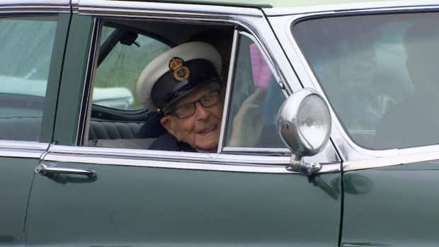 Rod Deon took a ride in a 1952 Buick Super to Friday night's event honouring World War Two veterans. He was also marking his 100th birthday.  (Chelsea Jacobs/CBC - image credit)