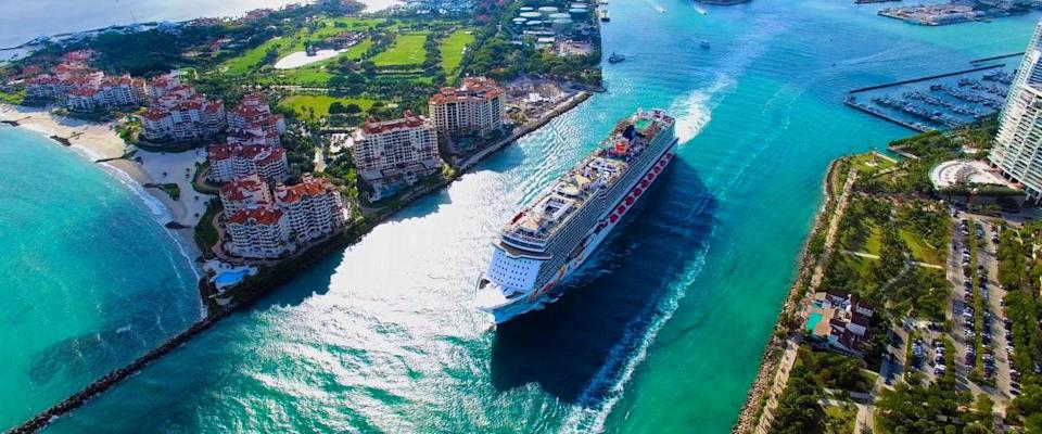 Cruise ship leaving the Government Cut canal in Miami Beach, Florida