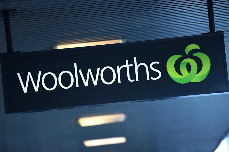 A Woolworths sign is pictured.