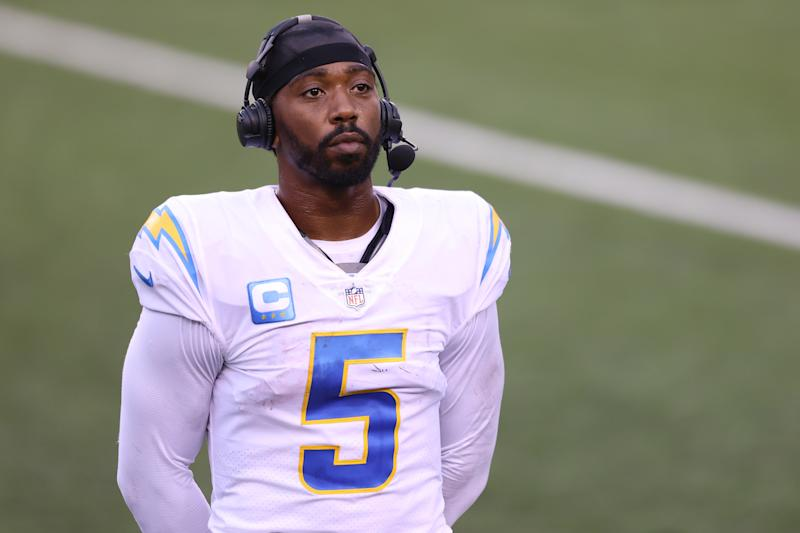 CINCINNATI, OHIO - SEPTEMBER 13: Quarterback Tyrod Taylor #5 of the Los Angeles Chargers looks on after defeating the Cincinnati Bengals during the second half at Paul Brown Stadium on September 13, 2020 in Cincinnati, Ohio. (Photo by Bobby Ellis/Getty Images)