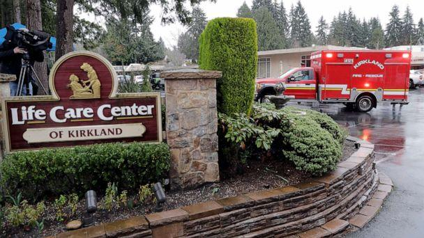 PHOTO: An ambulance is shown, March 6, 2020, at the Life Care Center in Kirkland, Wash., which has become the epicenter of the coronavirus outbreak in Washington state. This ambulance left the facility after a short time and did not transport a patient. (Ted S. Warren/AP)
