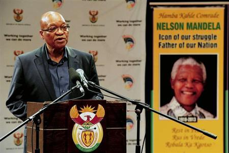 South Africa's President Jacob Zuma addresses a media briefing on arrangements relating to the passing of former President Nelson Mandela, at SABC Studios in Auckland Park, Johannesburg, December 6, 2013.