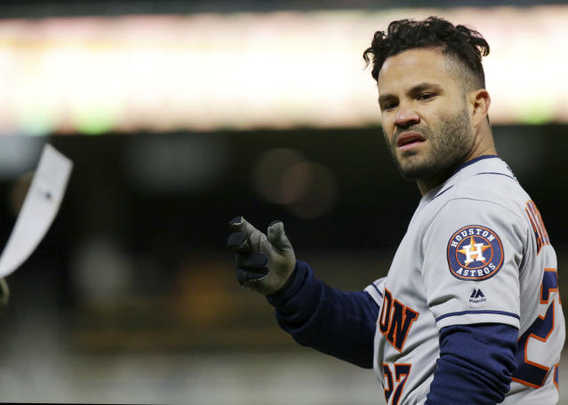 Jose Altuve recorded his first golden sombrero. (AP Photo)