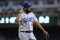 Los Angeles Dodgers relief pitcher Kenley Jansen celebrates the team's 3-0 win over the Arizona Diamondbacks in a baseball game Friday, June 18, 2021, in Phoenix. (AP Photo/Ross D. Franklin)
