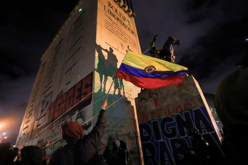 FILE PHOTO: Protest against sexual assault by the police and the excess of public force, in Bogota