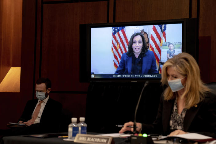 Democratic vice presidential candidate Sen. Kamala Harris, D-Calif., speaks virtually during a confirmation hearing for Supreme Court nominee Amy Coney Barrett before the Senate Judiciary Committee, Monday, Oct. 12, 2020, on Capitol Hill in Washington. (Erin Schaff/The New York Times via AP, Pool)