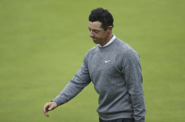 Northern Ireland's Rory McIlroy looks down after completing his second round on the 18th green during the second round of the British Open Golf Championships at Royal Portrush in Northern Ireland, Friday, July 19, 2019.(AP Photo/Peter Morrison)