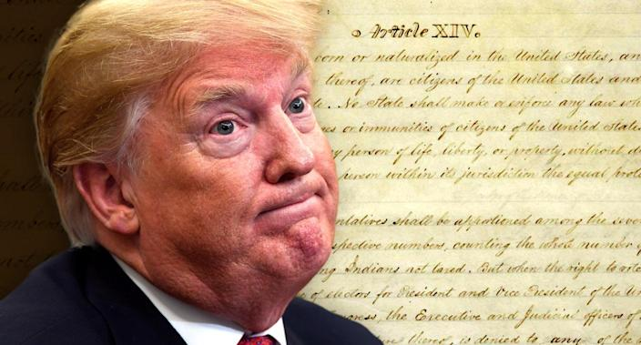 President Trump and the 14th Amendment to the U.S. Constitution. (Photo illustration: Yahoo News; photos: AP, NARA)