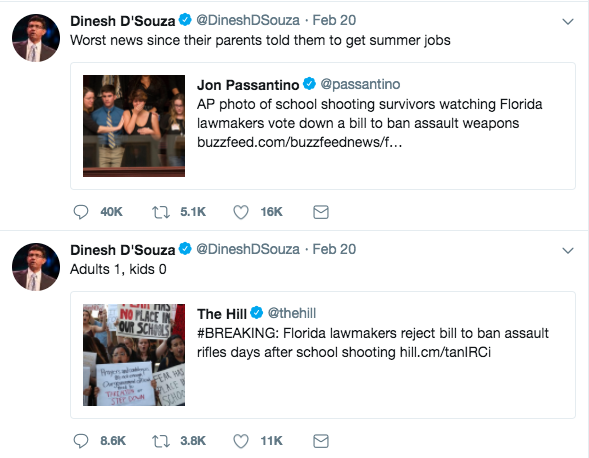 Right-wing pundit Dinesh D'Souza taunts survivors of Parkland shooting for losing weapons-ban vote in Florida legislature.