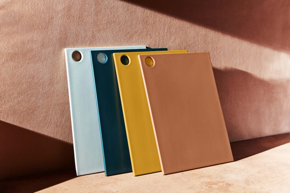 This photo provided by Material Kitchen shows their reBoard cutting boards. Material Kitchen's reBoards are cutting boards made of recycled plastic and sugarcane, and are offered in a rainbow of beautiful hues. Kitchen tools like this may seem like a utilitarian gift, but if you can find them in interesting hues like this, and made sustainably, the gift becomes something a little more special. (Kate Mathis/Material Kitchen via AP)