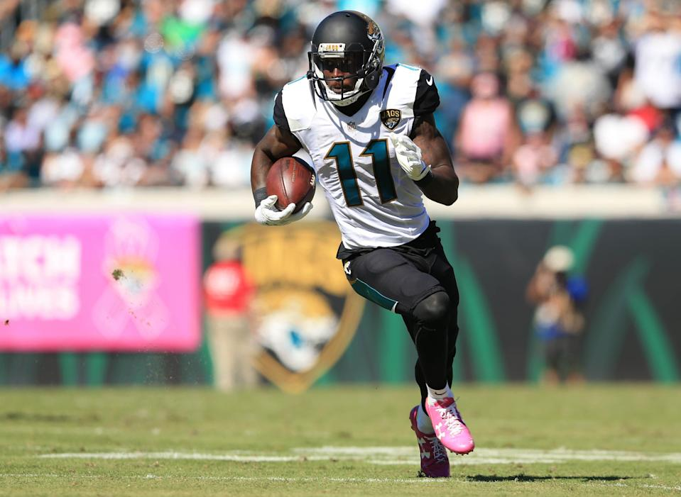 Jacksonville receiver Marqise Lee suffered a knee injury in their preseason game against the Atlanta Falcons on Saturday afternoon and was carted off the field. (Getty Images)