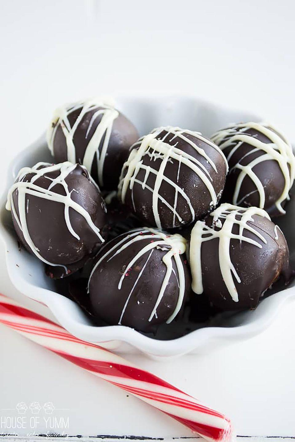 """<p>You'll feel like you're biting into a creamy candy cane (and we're definitely OK with that). </p><p><strong>Get the recipe at <a href=""""http://houseofyumm.com/peppermint-truffles/"""" rel=""""nofollow noopener"""" target=""""_blank"""" data-ylk=""""slk:House of Yumm"""" class=""""link rapid-noclick-resp"""">House of Yumm</a>.</strong></p>"""