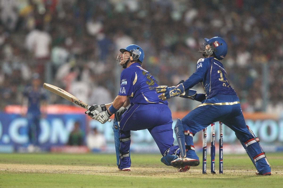 Shane Watson of Rajasthan Royals looks up after getting a top edge to a delivery during the 2nd Qualifying match of the Pepsi Indian Premier League between The Rajasthan Royals and the Mumbai Indians  held at the Eden Gardens Stadium in Kolkata on the 24th May 2013..Photo by Shaun Roy-IPL-SPORTZPICS    ..Use of this image is subject to the terms and conditions as outlined by the BCCI. These terms can be found by following this link:..https://ec.yimg.com/ec?url=http%3a%2f%2fwww.sportzpics.co.za%2fimage%2fI0000SoRagM2cIEc&t=1498523369&sig=SU833WD00tvz5rAEkWsShw--~C