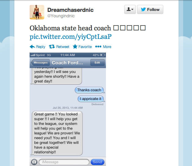 Prized recruit tweets texts he received from four prominent coaches