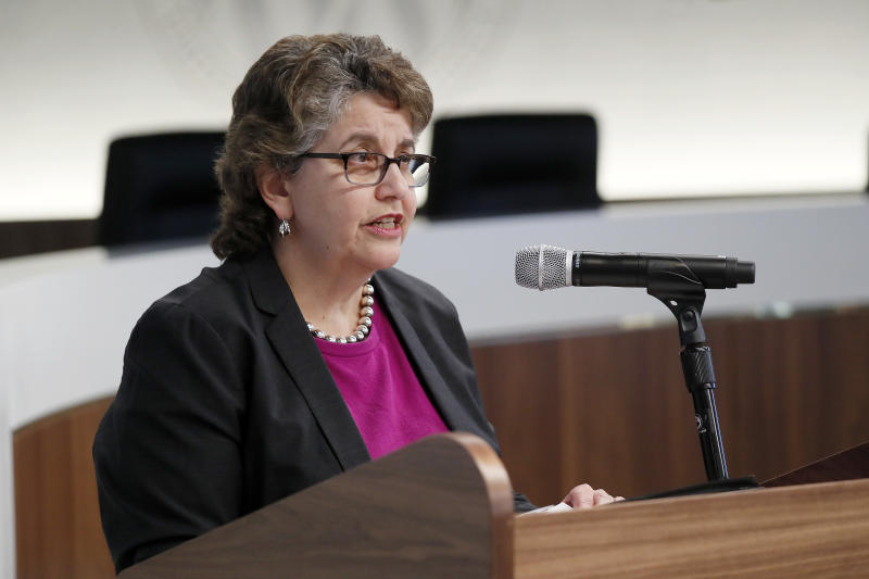WASHINGTON, DC - SEPTEMBER 17: Ellen L. Weintraub, Chair, U.S. Federal Election Commission, speaks at a panel discussion on disinformation and the 2020 campaign co-hosted by PEN America; Ellen L. Weintraub, Chair, U.S. Federal Election Commission; and the Global Digital Policy Incubator at Stanford University's Cyber Policy Center on September 17, 2019 at the FEC in Washington, DC. (Photo by Paul Morigi/Getty Images for PEN America)