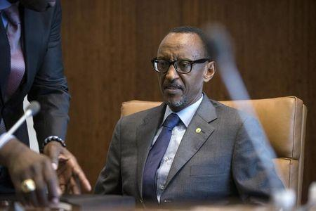 Rwandan President Kagame takes his place for a meeting with U.N. Secretary-General Ki-moon during the United Nations General Assembly at the United Nations in Manhattan