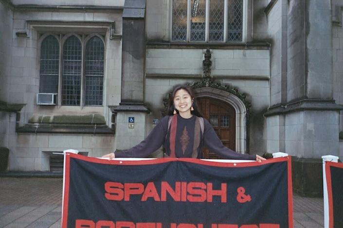 The author last year at Princeton University, when she declared her major in Spanish and Portuguese. (Photo: Photo Courtesy of Jimin Kang)