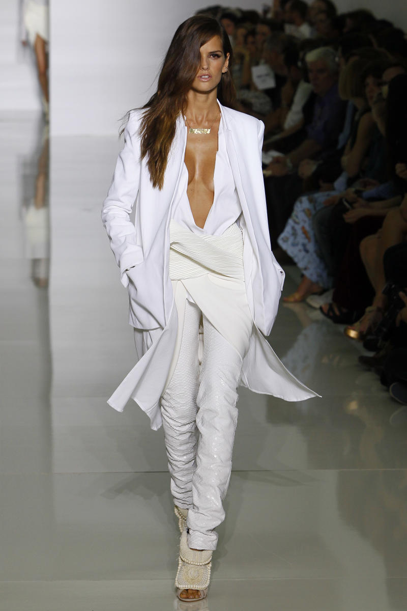 A model wears a creation by rap singer Kanye West for his spring-summer 2012 ready-to-wear collection presented Saturday, Oct.1, 2011 in Paris. (AP Photo/Francois Mori)