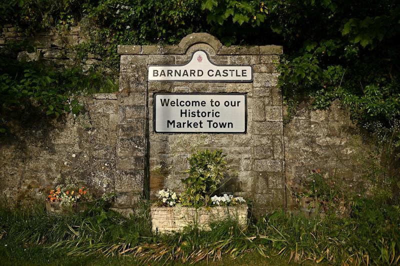 """A sign is pictured in Barnard Castle, less than 30 miles southwest of Durham, north east England, on May 25, 2020, a popular tourist village that Number 10 Downing Street special advisor Dominic Cummings acknowledged he visited during the COVID-19 lockdown. - British Prime Minister Boris Johnson's top adviser Domonic Cummings said Monday he acted """"reasonably and legally"""" despite mounting pressure on him to resign for allegedly breaking coronavirus lockdown rules. """"I don't think there is one rule for me and one rule for all people,"""" Cummings told reporters in his first official press conference on the job. """"In all circumstances, I believe I behaved reasonably and legally."""" (Photo by Oli SCARFF / AFP) (Photo by OLI SCARFF/AFP via Getty Images)"""