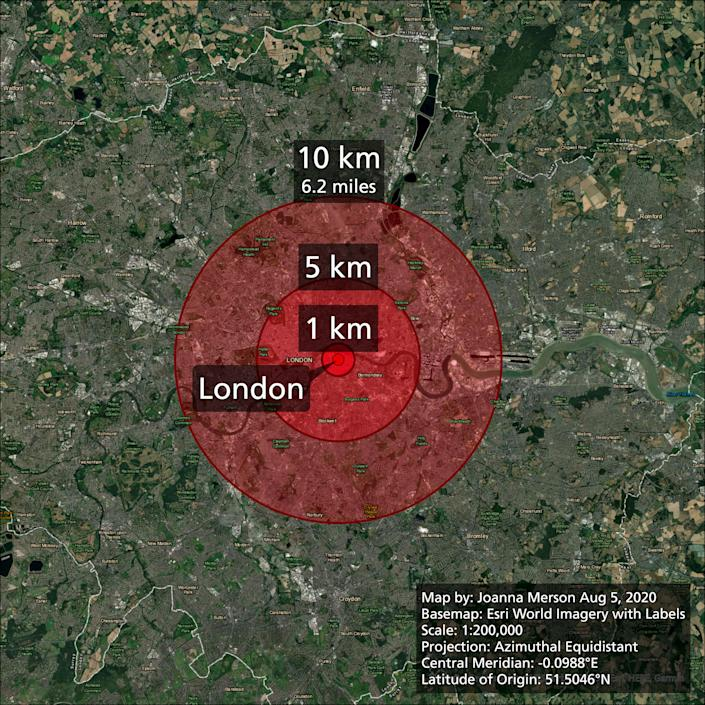 The damage radius of the explosion in Beirut if it had happened in London. (Joanna Merson)