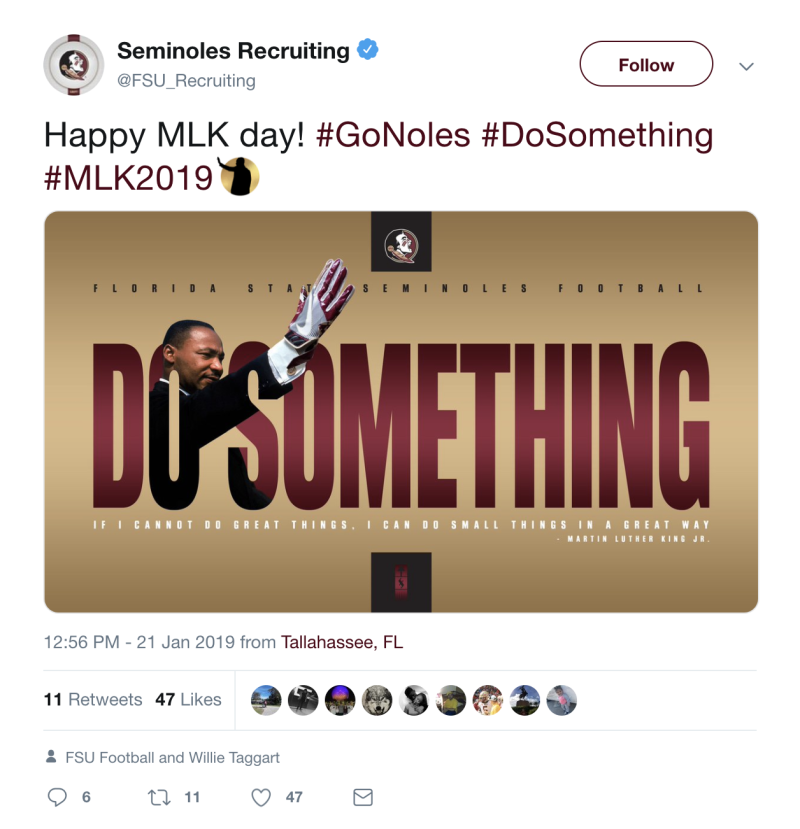 Florida State Recruiting Deletes Ill Advised Mlk Day Tweet