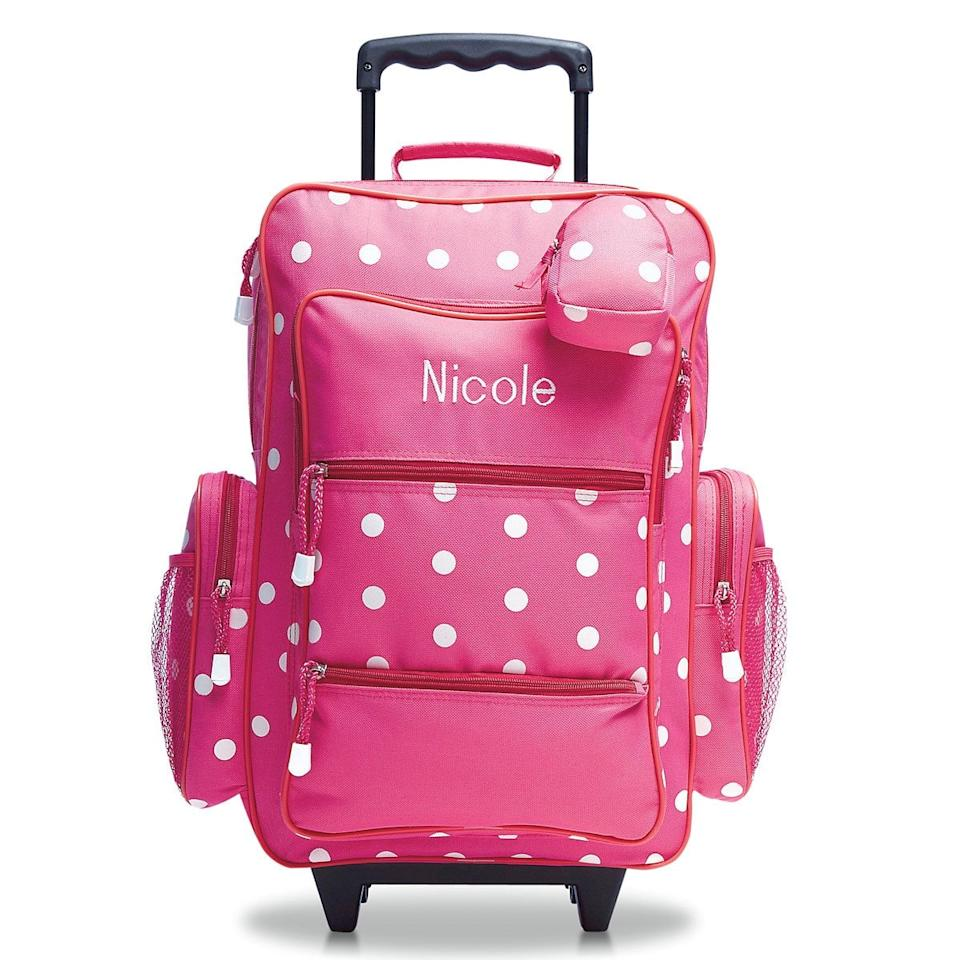 """<p>As the kids get used to transferring their most important and beloved items from home to home, I find it helpful to provide them with cute, personalized luggage, like this <a href=""""https://www.popsugar.com/buy/Lillian-Vernon-Pink-Polka-Dot-Rolling-Luggage-500107?p_name=Lillian%20Vernon%20Pink%20Polka%20Dot%20Rolling%20Luggage&retailer=amazon.com&pid=500107&price=60&evar1=moms%3Aus&evar9=46690901&evar98=https%3A%2F%2Fwww.popsugar.com%2Ffamily%2Fphoto-gallery%2F46690901%2Fimage%2F46690903%2FPersonalized-Luggage&prop13=api&pdata=1"""" rel=""""nofollow"""" data-shoppable-link=""""1"""" target=""""_blank"""" class=""""ga-track"""" data-ga-category=""""Related"""" data-ga-label=""""https://www.amazon.com/Pink-Polka-Personalized-Rolling-Luggage/dp/B01N9YEOMI"""" data-ga-action=""""In-Line Links"""">Lillian Vernon Pink Polka Dot Rolling Luggage</a> ($60). In our house we call these the """"dad bags"""" and I am constantly reminding my kids to """"put that in your dad bag!"""" It helps minimize those dreaded last minute drop offs of any items the kids left at my house, but so desperately need at their father's!</p>"""