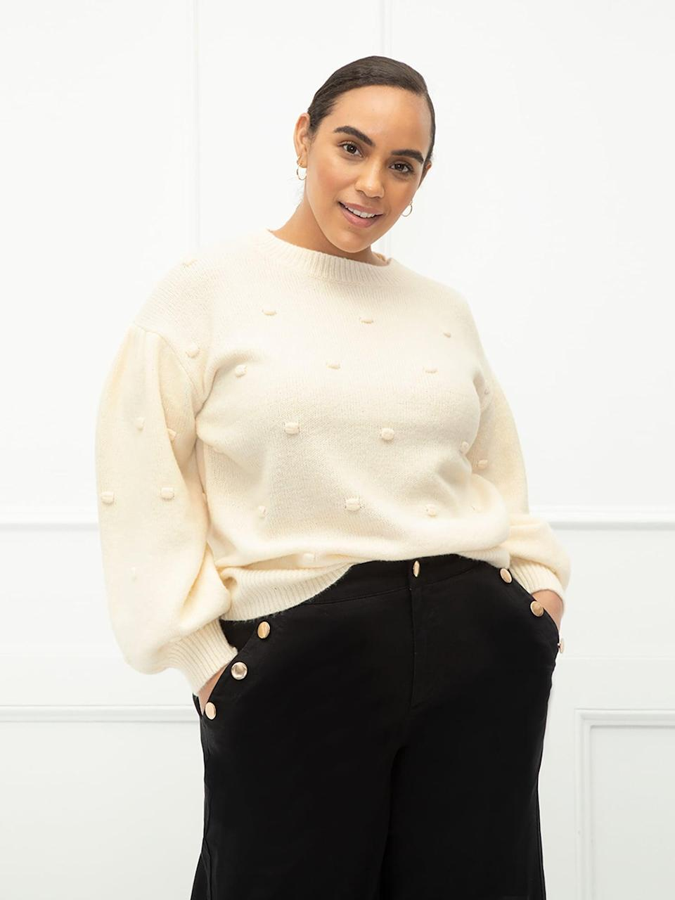 <p>Let this cozy <span>ELOQUII Elements Women's Plus Size Balloon Sleeve Bobble Sweater</span> ($25) help convince you that cold weather isn't as bad as it sounds. </p>