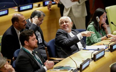 Iranian Foreign Minister Javad Zarif attends a UN session on sustainable development on Wednesday - Credit: Kena Betancur/AFP