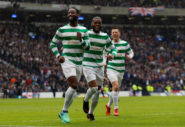 Soccer Football - Scottish Cup Semi Final - Celtic vs Rangers - Hampden Park, Glasgow, Britain - April 15, 2018 Celtic's Moussa Dembele celebrates scoring their third goal Action Images via Reuters/Lee Smith