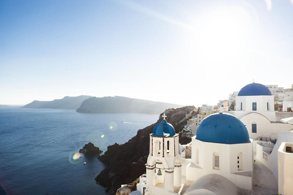 """<p>Ah, Santorini, how could we leave you off the list? This ancient isle in the Cyclades is known for its whitewashed, hilltop villages seated above azure waters. Created after a volcanic eruption, its beaches also feature multi-colored lava pebbles and cliffs. </p><p><a href=""""https://mystique.gr/"""" rel=""""nofollow noopener"""" target=""""_blank"""" data-ylk=""""slk:Mystique Hotel"""" class=""""link rapid-noclick-resp"""">Mystique Hotel </a>offers the quintessential, luxury experience in Santorini you're jonesing for with dreamy accommodations, a fantastic wellness program, and unique experiences that connect visitors to Santorini's lovely culture, cuisine, and craftsmanship.</p>"""