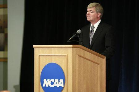 NCAA President Emmert speaks during news conference at NCAA headquarters in Indianapolis