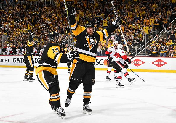 PITTSBURGH, PA - MAY 15: Phil Kessel #81 of the Pittsburgh Penguins celebrates his third period goal against the Ottawa Senators in Game Two of the Eastern Conference Final during the 2017 NHL Stanley Cup Playoffs at PPG Paints Arena on May 15, 2017 in Pittsburgh, Pennsylvania. (Photo by Joe Sargent/NHLI via Getty Images)