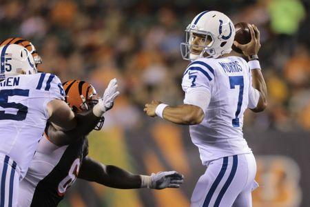 FILE PHOTO: Sep 1, 2016; Cincinnati, OH, USA; Indianapolis Colts quarterback Stephen Morris (7) looks to pass in the first half against the Cincinnati Bengals in a preseason NFL football game at Paul Brown Stadium. Mandatory Credit: Aaron Doster-USA TODAY Sports / Reuters Picture Supplied by Action Images (TAGS: Sport American Football NFL) *** Local Caption *** 2016-09-02T010258Z_998654130_NOCID_RTRMADP_3_NFL-PRESEASON-INDIANAPOLIS-COLTS-AT-CINCINNATI-BENGALS.JPG