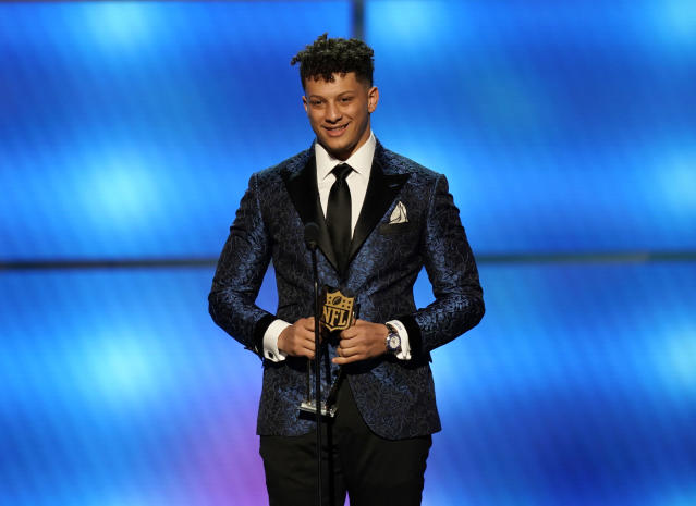 """No one saw <a class=""""link rapid-noclick-resp"""" href=""""/nfl/players/30123/"""" data-ylk=""""slk:Patrick Mahomes"""">Patrick Mahomes</a> coming last year. Will this year's MVP be the same? (Photo by Paul Abell/Invision for NFL/AP Images)"""