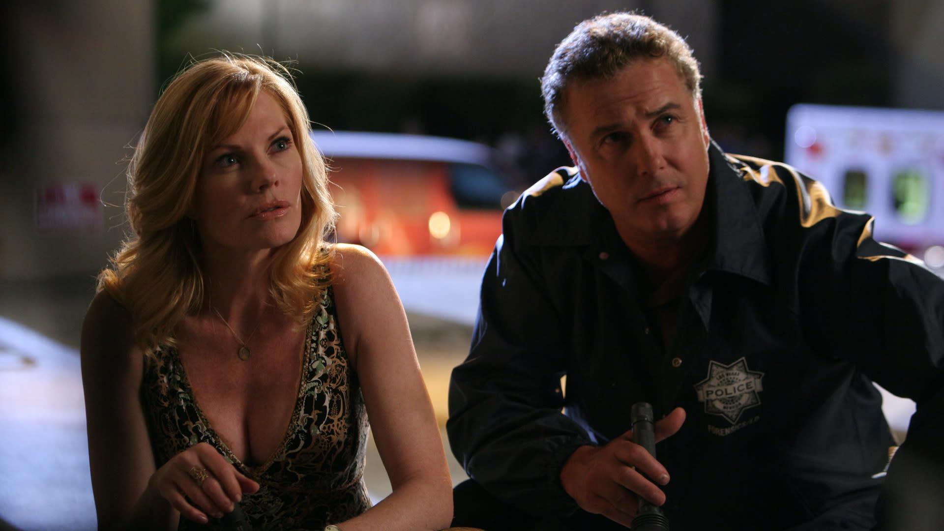 """Built to Kill, Part 1"" -- Grissom (William Petersen) and Catherine (Marg Helgenberger) investigate the murder of an aspiring dancer killed backstage at Cirque du Soleil, on part one of the two part seventh season premiere of CSI: CRIME SCENE INVESTIGATION, Thursday September 17 (9:00-10:00 PM, ET/PT) on the CBS Television Network. Photo: Robert Voets/CBS ©2006 CBS Broadcasting Inc. All Rights Reserved."