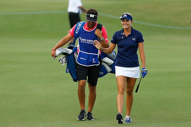 "<h1 class=""title"">lexi thompson CME Group Tour Championship - Final Round</h1> <div class=""caption""> NAPLES, FL - NOVEMBER 18: Lexi Thompson reacts as she walks up the 18th fairway during the final round of the LPGA CME Group Tour Championship at Tiburon Golf Club on November 18, 2018 in Naples, Florida. (Photo by Michael Reaves/Getty Images) </div> <cite class=""credit"">Michael Reaves</cite>"