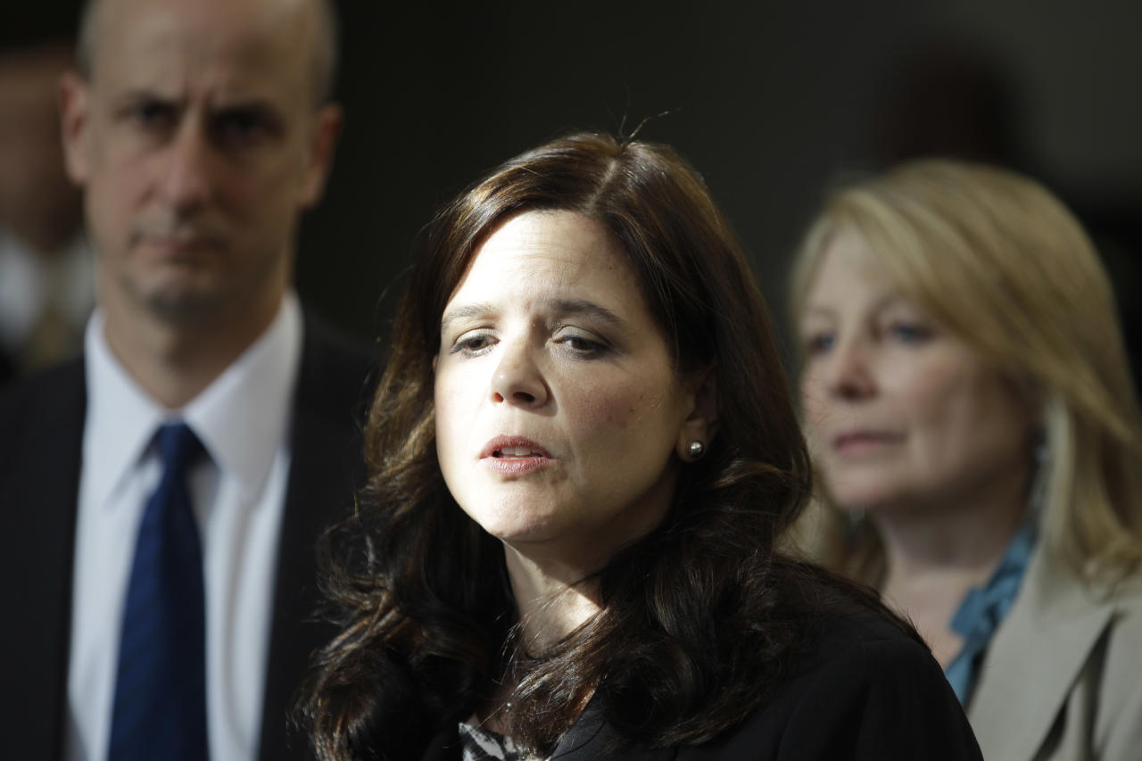 Amy Thompson, defense attorney for William Balfour, speaks with the media Friday, May 11, 2012, in Chicago after Balfour was convicted of murdering the mother, brother and nephew of singer and actress Jennifer Hudson. Balfour faces a mandatory life prison sentence. (AP Photo/M. Spencer Green)
