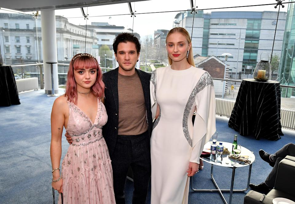 BELFAST, NORTHERN IRELAND – APRIL 12: Maisie Williams; Kit Harrington; and Sophie Turner at the Game of Thrones Season Finale Premiere at the Waterfront Hall on April 12, 2019 in Belfast, Northern Ireland. (Photo by Jeff Kravitz/FilmMagic for HBO)